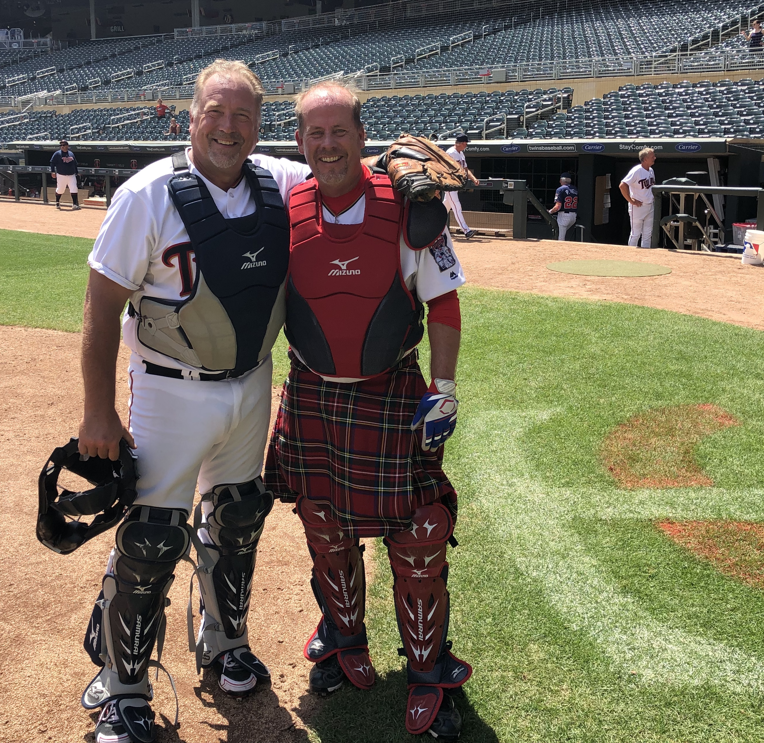 Todd wearing his Kilt while catching at Target Field!!