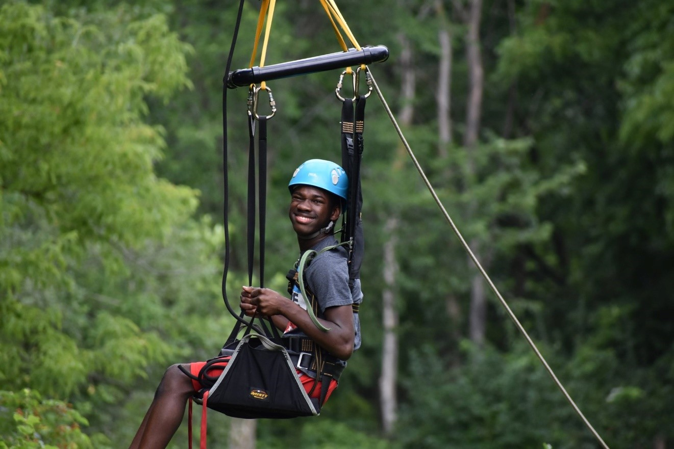 Zip lining using our sky chair