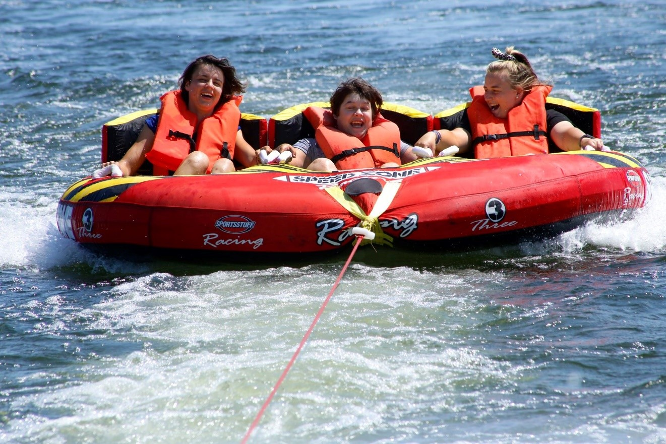 Inter tubes with back supports provide fun and supportive water tubing for campers