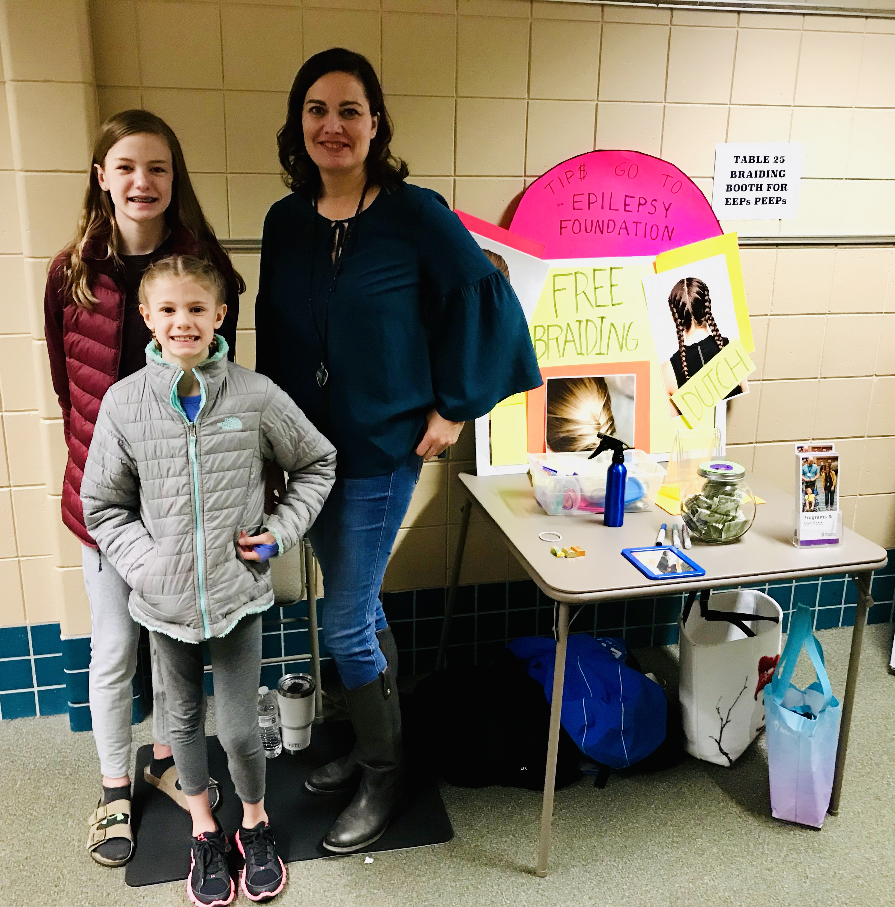 Braiding Booth at Red Pine Elementary