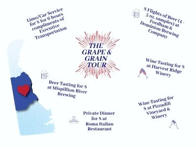 Grape & Grain Tour includes Executive Transportation limo service to Fordham and Dominion Brewing, Harvest Ridge Winery, Mispillion River Brewing, Pizzadili Winery, & Roma Italian Restaurant