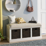Kinwell Rustic White Storage Bench