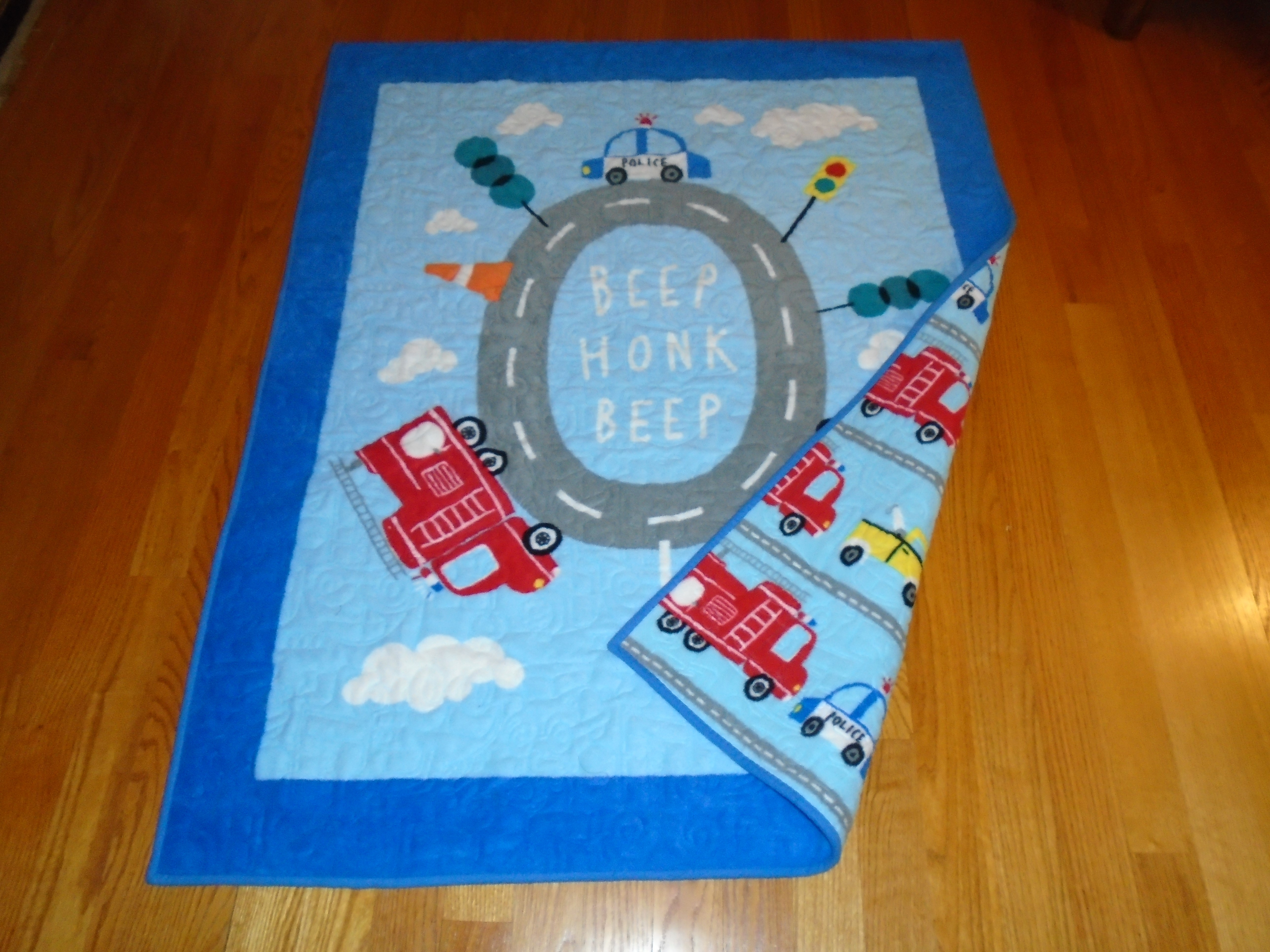 Beep Honk hand made toddler quilt