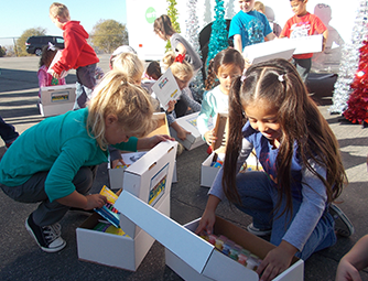 Military Kids Getting Boxes at San Onofre